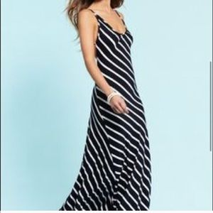 OLIVACEOUS striped open back maxi dress M